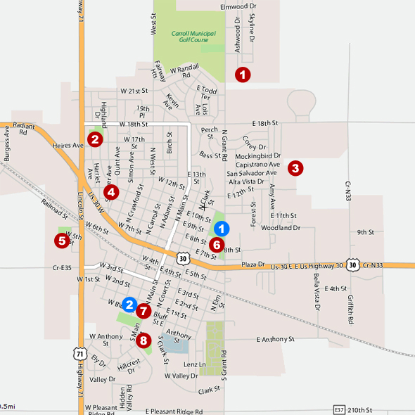 Map of Shelter Houses in Carroll, Iowa