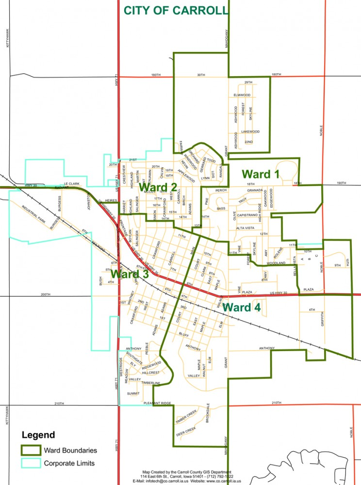 Ward Map City of Carroll, Iowa